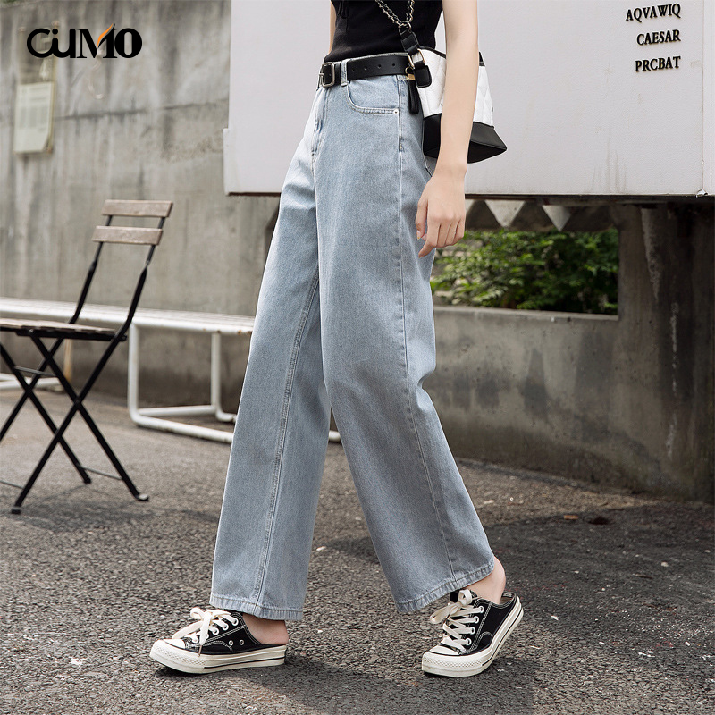 2019 autumn new wide leg jeans female wash hole loose high waist straight wild slim pants XS-XXL