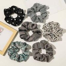 Fashion Polka Dot Leopard Print Hair Ring Scrunchies Check Plaid Elastic Hair Bands Women Girls Ponytail Holder Hair Accessories