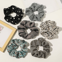 Fashion Polka Dot Leopard Print Hair Ring Scrunchies Check Plaid Elastic Hair Bands Women Girls Ponytail Holder Hair Accessories