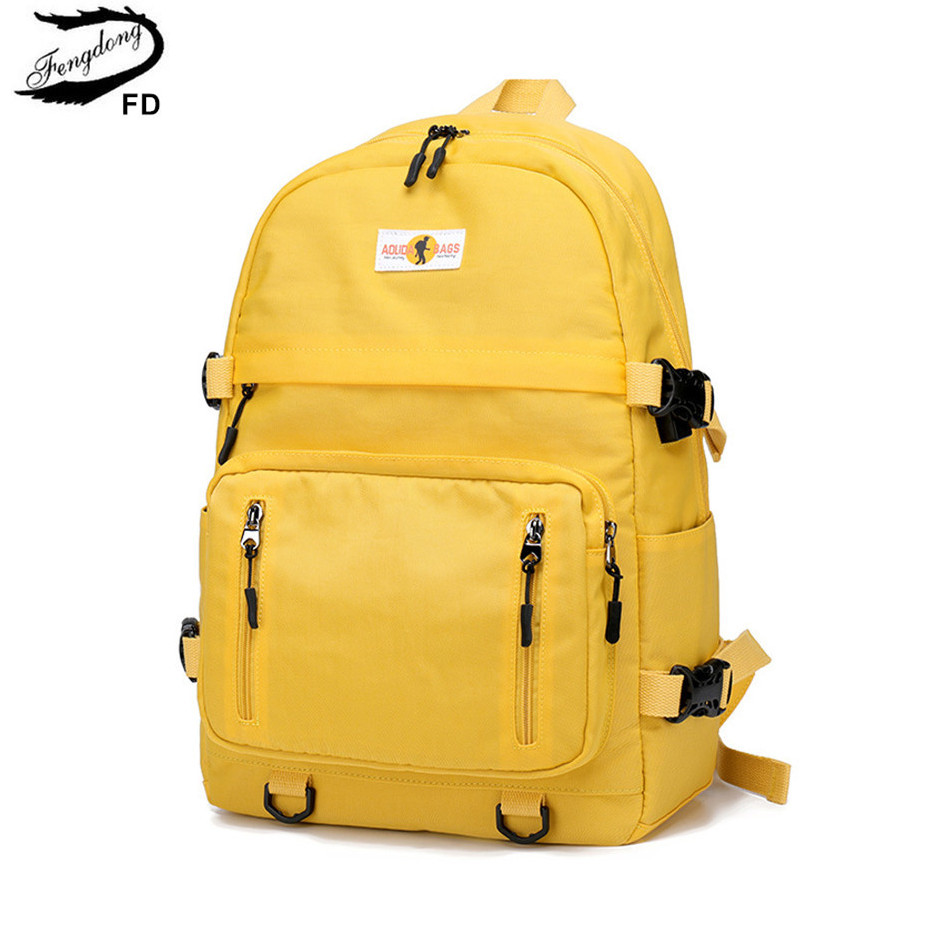 Fengdong high school backpack college student yellow backpack usb bookbag fashion large school backpack for teenage boys girls
