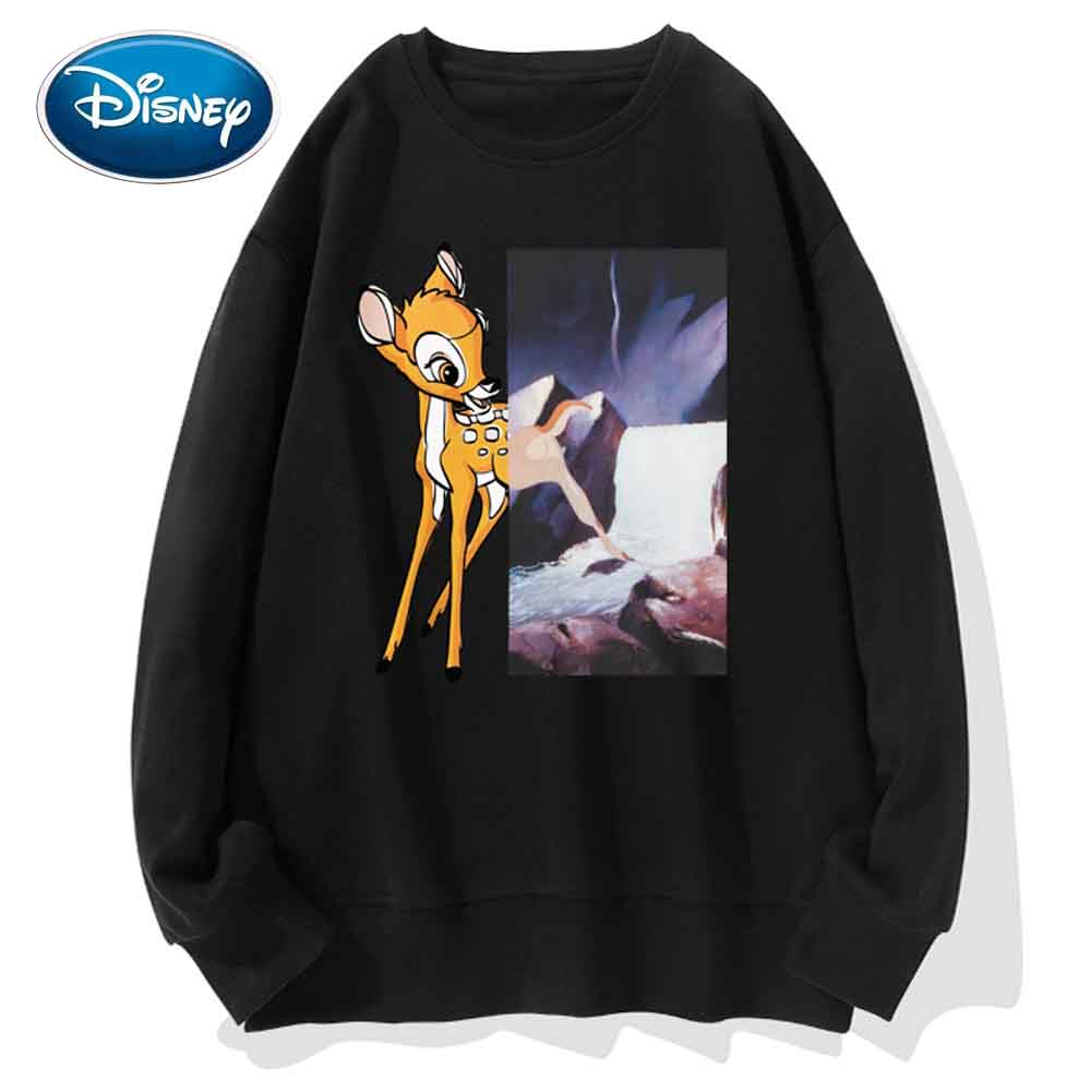 Disney Sweatshirt Bambi Deer Cartoon Print O-Neck Pullover Cute Couples Unisex Women Sweatshirt Long Sleeve Tops S - 3XL 7 Color