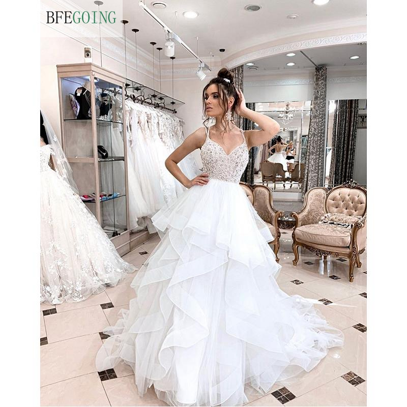 Luxurious Ivory Tulle Beading V-Neck Spaghetti Straps Floor-Length A-line Wedding Dress Bridal Gown Chapel Train