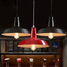 North Europe Iron Vintage Industrial Pendant Light Dining Room Kitchen Bar Hotel Study LED Lighting Fixtures White Black