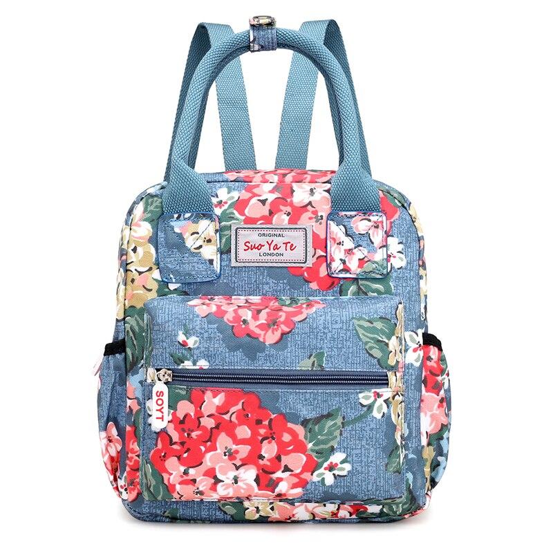 2020 Fashion Floral Pattern Women Backpack High Quality Waterproof Nylon School Backpack Female Cartoon Print Travel Backpack