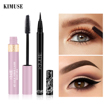 KIMUSE 2PCS 4D Sexy Silky Thick Mascara Lengthen Eyelashes+ WaterProof Long-lasting Fast Dry Liquid Eyeliner Pen Eye Cosmetics