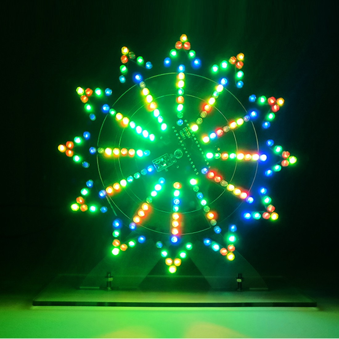 DIY Colorful LED Automatic Rotating Ferris Wheel Kit Electronic Components DIY Ferris Wheel Infrared Remote Ferris Wheel Decor