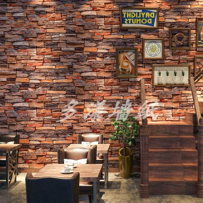 Image 3 - 3D retro industrial style imitation brick pattern self adhesive wallpaper restaurant restaurant bar red brick wall paperWallpapers   -