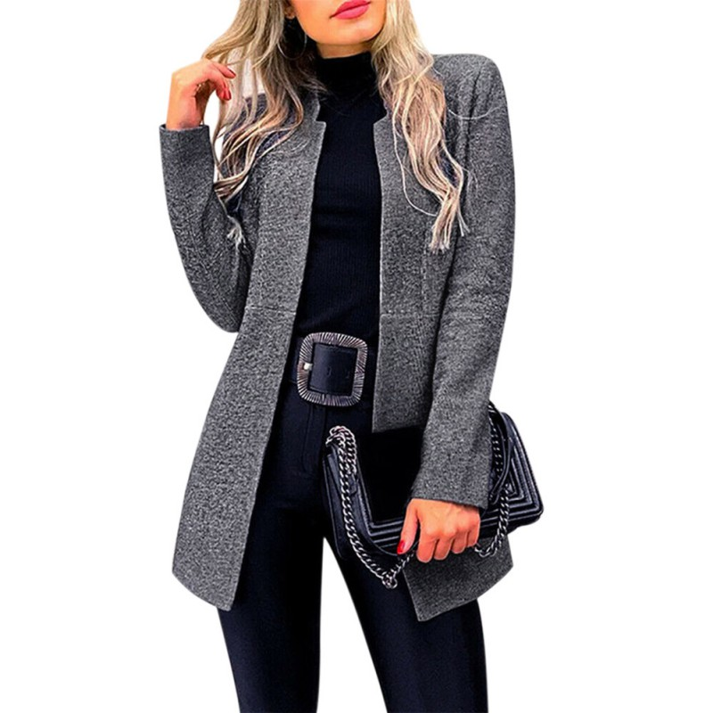 Autumn Long Blazers Suit Women Female Business Suit 2019 Office Lady Casual Solid Long Sleeve Stand Collar Blazer Coat