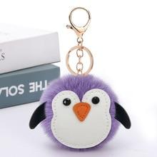 цена 2020 Hot-Selling Cute Penguin Keychain Cartoon Animal Bag Key Chain Car Pendant Small Fur Keyring Woman Rabbit Mood Tracker онлайн в 2017 году