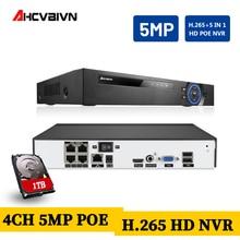 4CH 5MP NVR POE 1944P Surveillance CCTV NVR 48V PoE For H.265 2MP 5MP IP Camera P2P ONVIF Network Video Recorder