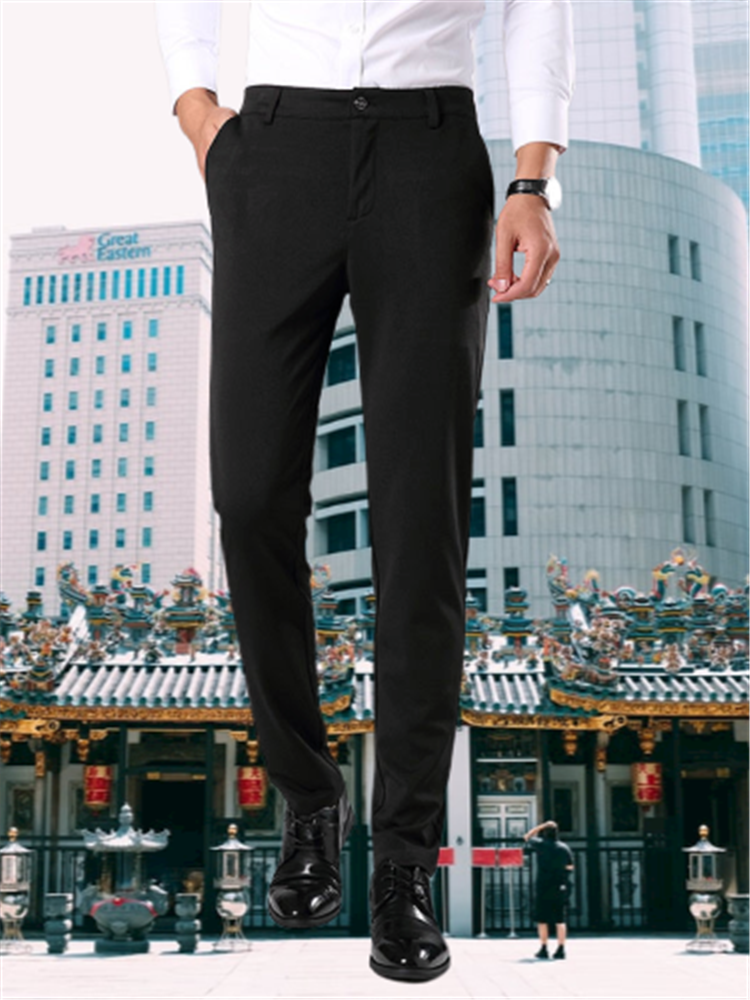 Suit Pants Formal Trousers Elastic Business Casual Straight Fashion Plus-Size New Male