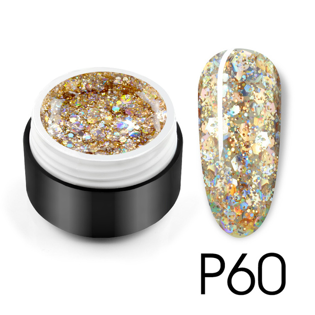 Glitter Bright Painting Gel Multi Shape Sequin Semi Permanent Soak Off UV LED Nail Gel Varnish Luxury Starry Color Gel Lacquer 5
