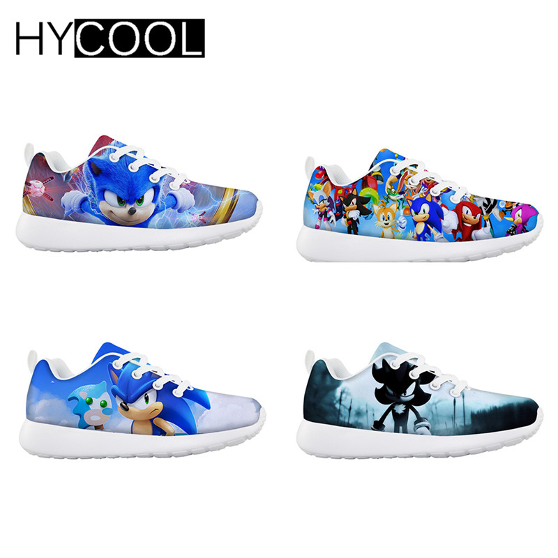 HYCOOL Kids Sport Flats Shoes Sonic The Hedgehog Cartoon Printed Boys Girls Outdoor Mesh Lace Up Running Shoe Children Sneaker
