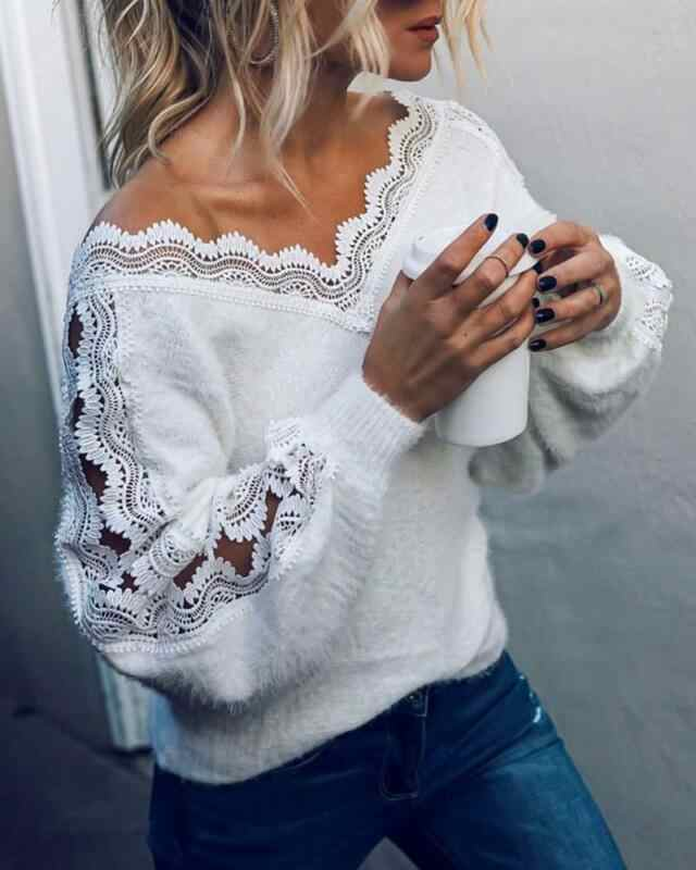 Sexy V-ausschnitt Spitze Hohl Knit Pullover Herbst Winter Langarm Pullover Tops Elegante Frauen Weiß Jumper Pull Femme Freies verschiffen