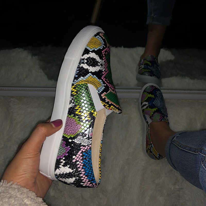 Wanita Sepatu Wanita Ular Elastis Band Platform Divulkanisir Wanita Flat Cetak Warna Campuran Wanita Slip Sepatu Kasual Plus Ukuran