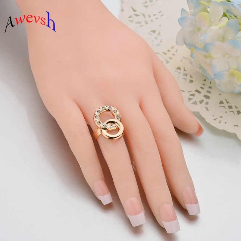 Awevsh Dubai Gold Jewelry Sets Nigerian Wedding African Beads Crystal Bridal Jewellery Set Rhinestone Ethiopian Jewelry parure