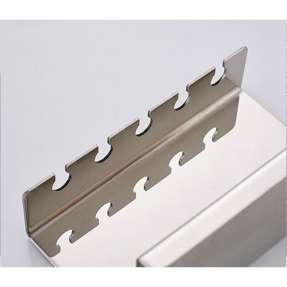 5 Slots Storage Rack Self Adhesive Wall Mount Toothbrush Holder Strong Loading Kitchen Stainless Steel Toilet Supplies Hotel