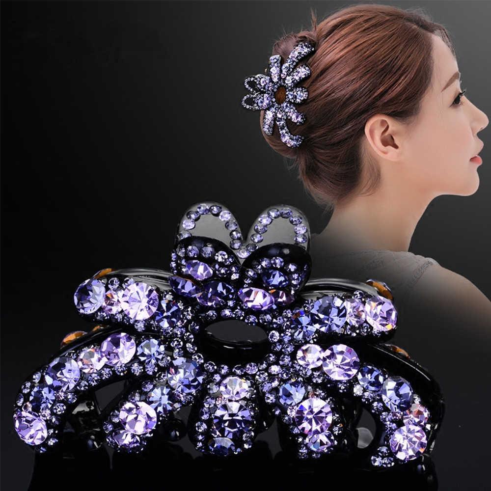 ผู้หญิงใหม่ VINTAGE Butterfly Hair Claw ปู Elegant คริสตัล Rhinestone โบว์คลิปผมผู้หญิงอุปกรณ์เสริมผม