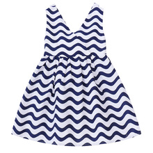 цена на 2020New Wavy Print Tank Dress Girls Kids Princess Dress children Summer Girls Clothes V-Neck Sleeveless navy blue 3-12Years Old