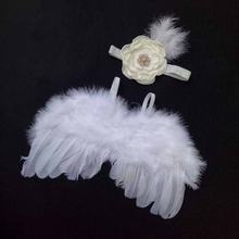 Hot Baby Kids Feather Lace Headband With Angel Wings Flowers Photo Props for Newborn Photography Props Baby Accessories Memorry(China)