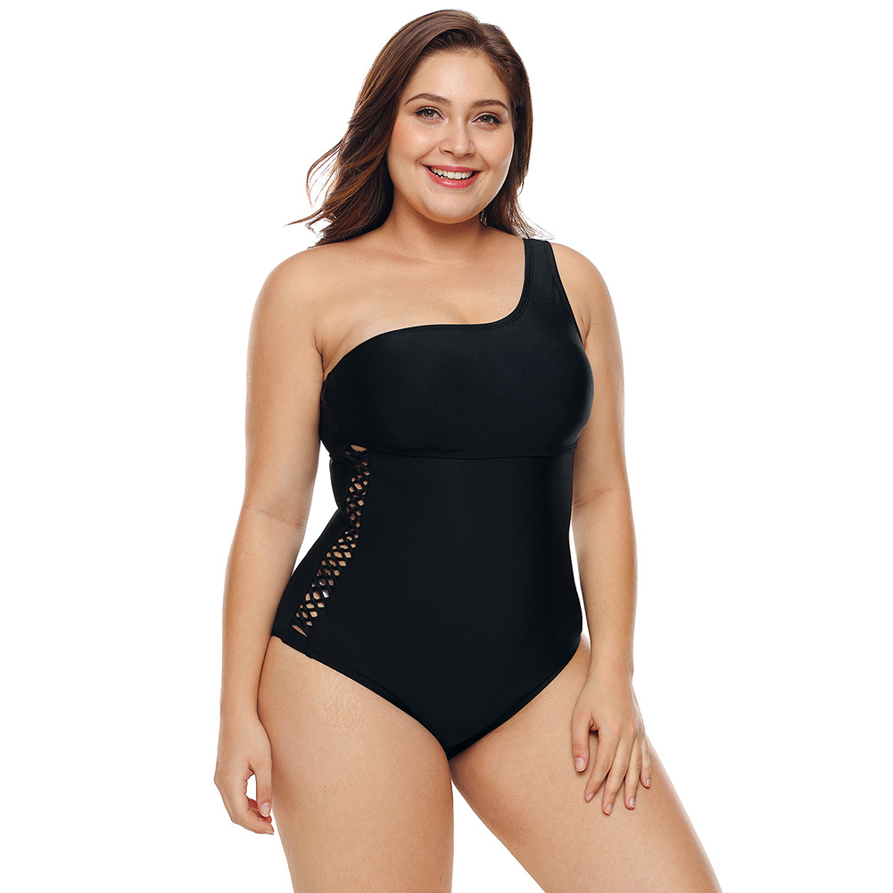 Large Size Swimwear Women's Middle-aged Women Dress Belly Covering Conservative Fat Mm Shoulder One-piece Swimming Suit 410739