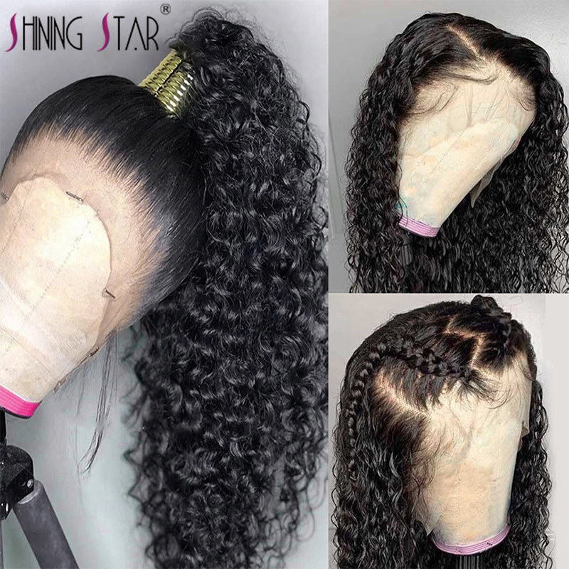 "Malaysian Deep Wave Lace Front <font><b>Wig</b></font> 13X4 Pre-Plucked Natural Color 150 Lace Human Hair <font><b>Wigs</b></font> Remy Shining Star Medium Ratio <font><b>8</b></font>""-24"