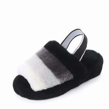 Women Plush Slippers Spring Wool Shoes Antiskid Indoor Flats Rubber bottom Soft Comfortable Outdoor Female Slippers