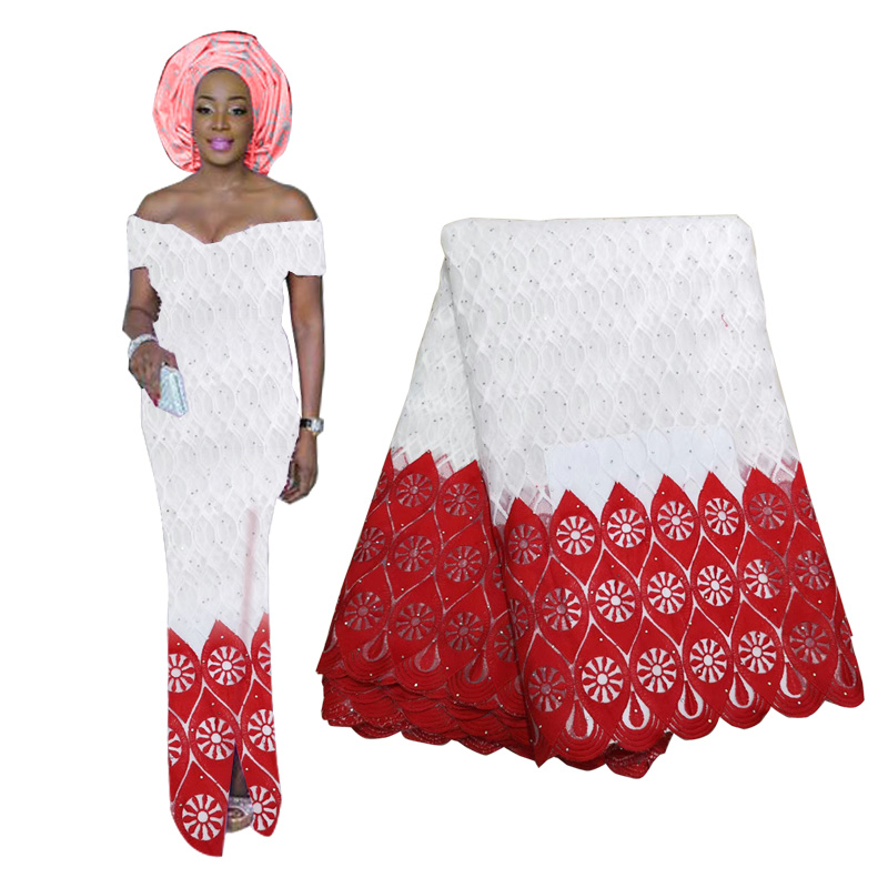 Luxury Pure White Black African Mesh Lace Fabrics High Quality Nigerian French Tulle Lace With Stones Net Lace Fabric