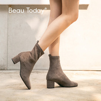 BeauToday Sock Boots Women Stretch Fabric Round Toe Slip On Elastic Ankle Boots Autumn Winter High Heel Shoes Handmade 02404