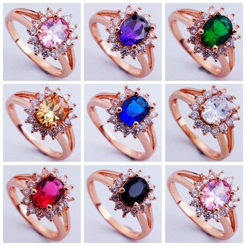 Anéis de presente de aniversário anéis de presente de casamento de rosa de cor de ouro