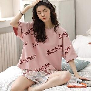 Image 5 - 女性のパジャマセットプラスサイズファム寝間着カジュアルホームウェア部屋着綿パジャマ漫画oネックパジャマM XXL