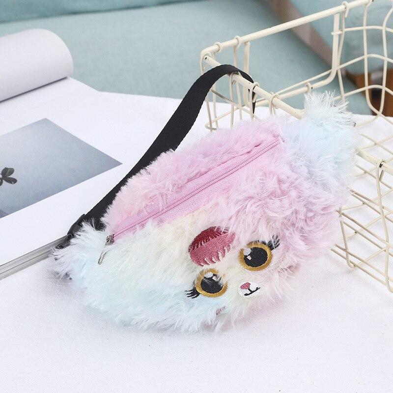 New Plush Children Chest Bag Boy Girl Money Wallet Waist Bag Baby Kids Cartoon Animal Shape Waist Pack Holographic Purse