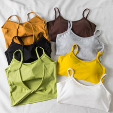 Womens Summer Camis Tanks Tops Sleeveless Cotton Vest Bustier With padded Bandeau Bra Crop Top Seamless Bralette Tees