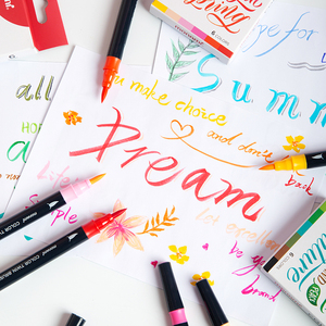 Image 5 - Monami Color Twin Brush Watercolor Brush Pen Double Head Art Markers Sketching Painting Brush Lettering 04038