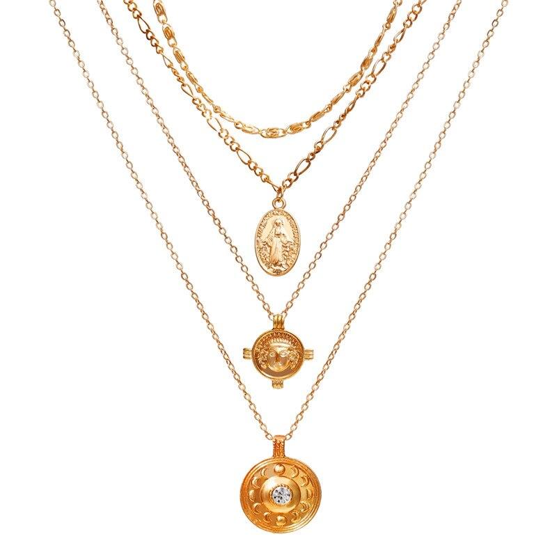 17 км винтажная Золотая монета с портретом, жемчужное ожерелье с подвеской s для женщин, богемное Модное Длинное Ожерелье из муклтилятора с жемчугом, ювелирное изделие - Окраска металла: CS19062606