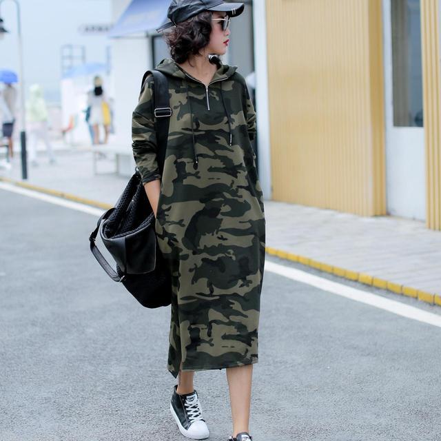 Осеннее базовое платье с капюшоном, свитшоты, женские модные корейские камуфляжные толстовки, новая длинная верхняя одежда, повседневные пуловеры с разрезом