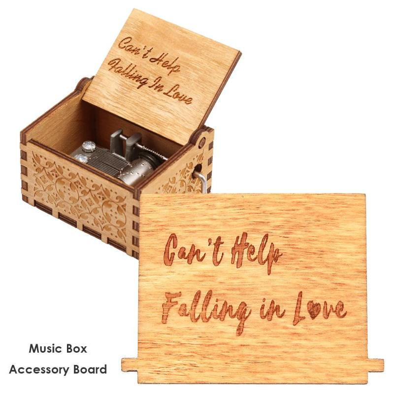 Retro Wooden Hand Cranked Music Box Board Accessories Xmas Kids Gift Decor Delicate Elegant Wooden 65x45mm Hand-painted Pattern