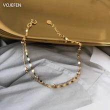 Vojefen au750 pulseira de ouro real 18k ouro dupla camada pequena bola link e lábios pulseira de corrente de ouro pulso jóias finas para mulher