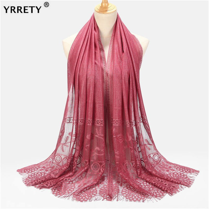 YRRETY Autumn Lace Women Scarf Headband Scarves Winter Long Pink Green Red White Black Hijab Hollow Out Flower Embroidery Shawl