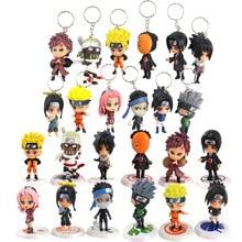 6-8cm 6 unids/set figura de animé Naruto juguete clave cadenas Sasuke Kakashi Sakura Gaara Itachi Obito Madara asesino Bee regalos de muñecas