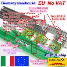 3sets Linear Rail guide SBR16 L 300/700/1100mm & SFU/RM1605 350/750/1150mm Ballscrew with Nut & BK/B12 & Coupler for CNC Router