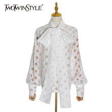 TWOTWINSTYLE Polka Dot Patchwork Bowknot Women's Shirts Lantern Long Sleeve Casual Shirt Female 2020 Spring Fashion New clothes