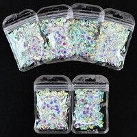 100 unids/pack arte de uñas de diamantes de imitación de Cristal AB de Aurora Boreal estrellas corazón gota de agua plana manicura suelto de HZD84 * y