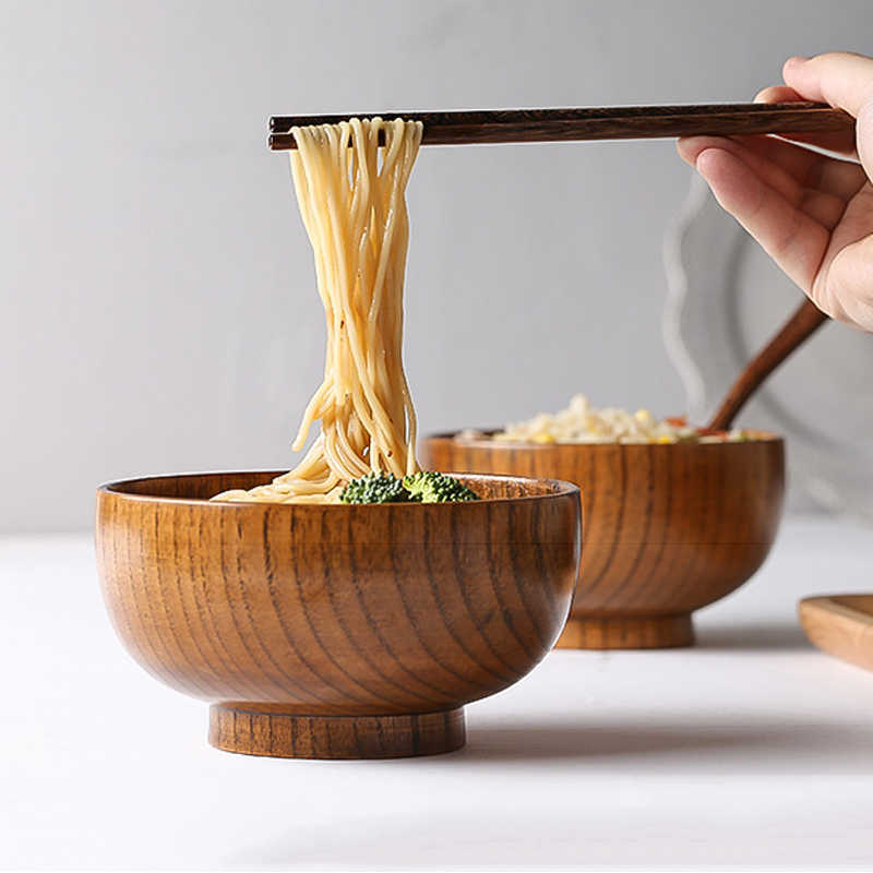Japanese Style Wooden Rice Bowl Soup Spoon Creative Natural Wood Tableware