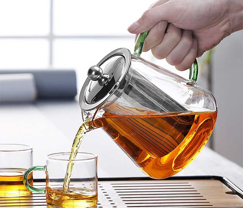 Warna-warni Tahan Panas Kaca Teko 550 Ml dengan Filter teh Pot Dapat Dipanaskan Secara Langsung Di Atas Api Saringan Panas Kopi Pot Ketel