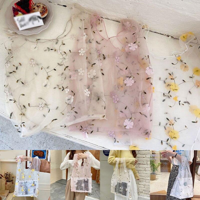 DIY Handbag Foldable Top-Handle Bags Embroidery Floral Mesh Shopping Tote Bag Organza Sweet Casual Tote Transparent Lace Organza