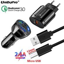 QC 3.0 EU AC Car Charger+12mm Tip Micro USB Cable for Blackview BV4000 BV4900 BV5500 Plus BV5800 BV6000 BV6000s A80s A80 A60 Pro