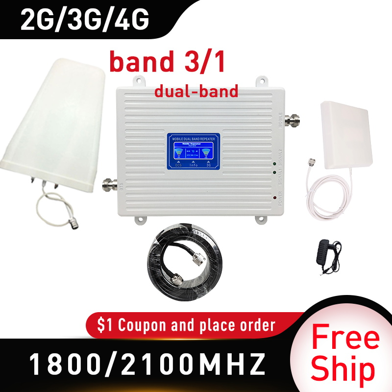 Two Frequencies 1800/2100MHZ GSM DCS WCDMA LTE 3G 4G Dual-Band Mobile Signal Booster Gain70 GSM Cellular Repeater 4g Amplifier