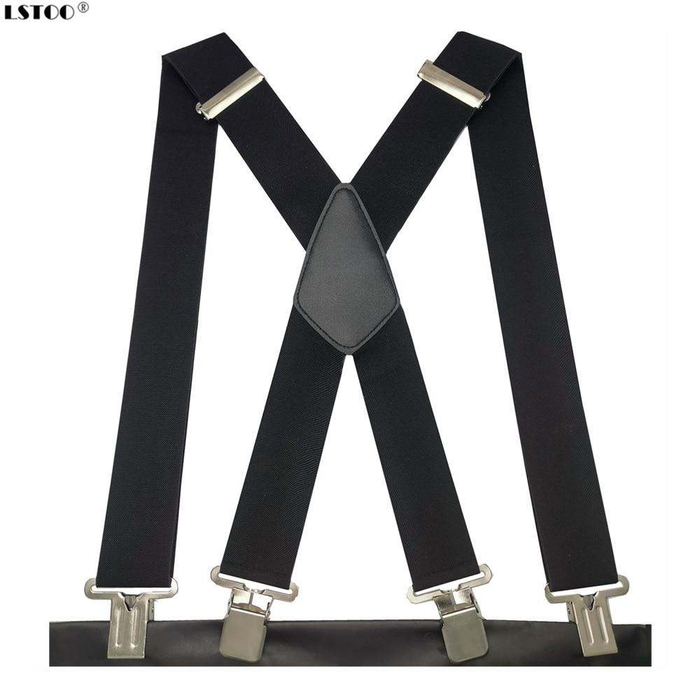 Men Suspenders Braces Back-Trousers Plus-Size Strong-Clips Adjustable Heavy-Duty High-Elastic