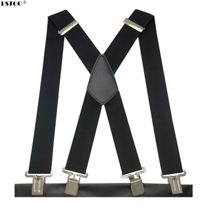 Plus Size 50mm Wide Men Suspenders High Elastic Adjustable 4 Strong Clips Suspender Heavy Duty X Back Trousers Braces 5 Colors